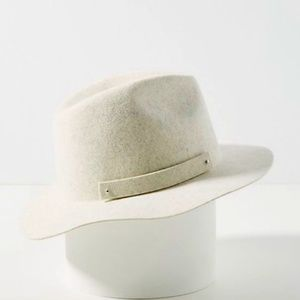 Anthropologie White Amelia Wool Fedora Hat